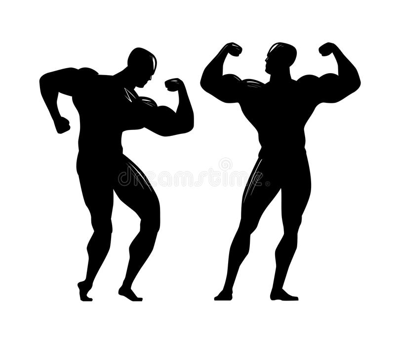 Bodybuildersilhouet Gymnastiek, het bodybuilding, sportconcept Vector illustratie vector illustratie
