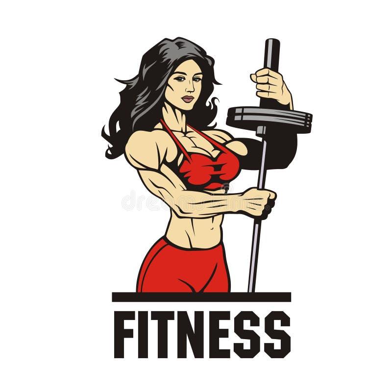 Bodybuildervrouw met barbell stock fotografie
