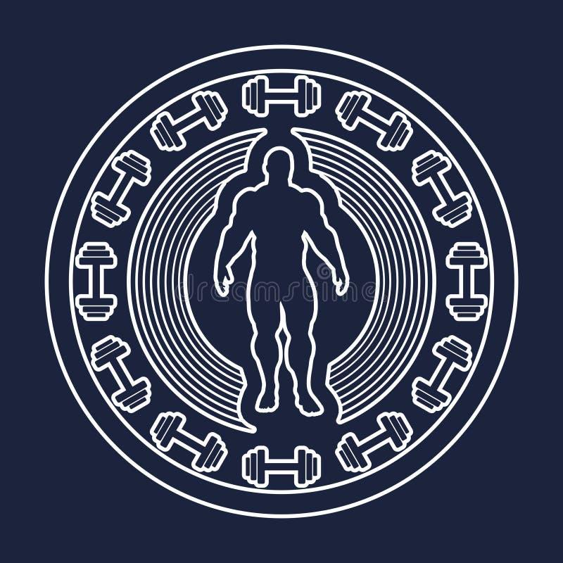 Bodybuilding świetlicowy emblemat royalty ilustracja