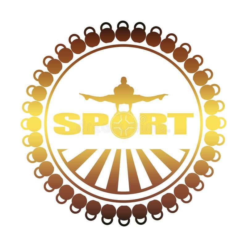 Bodybuilding świetlicowy emblemat ilustracji