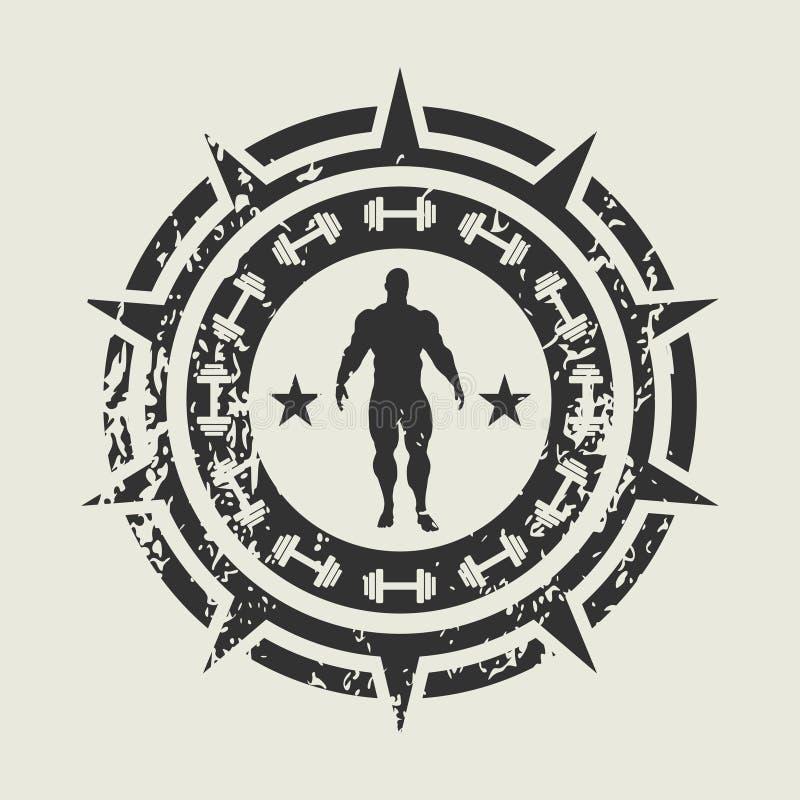 Bodybuilding świetlicowy emblemat ilustracja wektor
