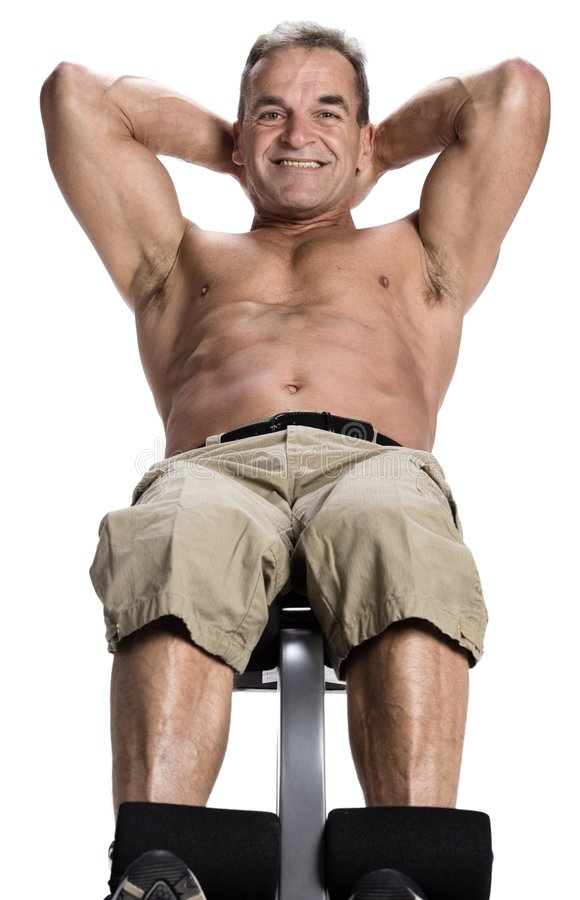 Bodybuilding. Photo of a man of 50 years old making bodybuilding stock photo