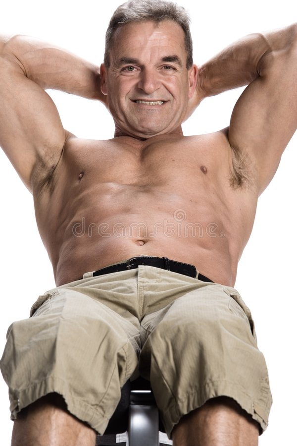 Bodybuilding. Photo of a man of 50 years old making bodybuilding stock photos