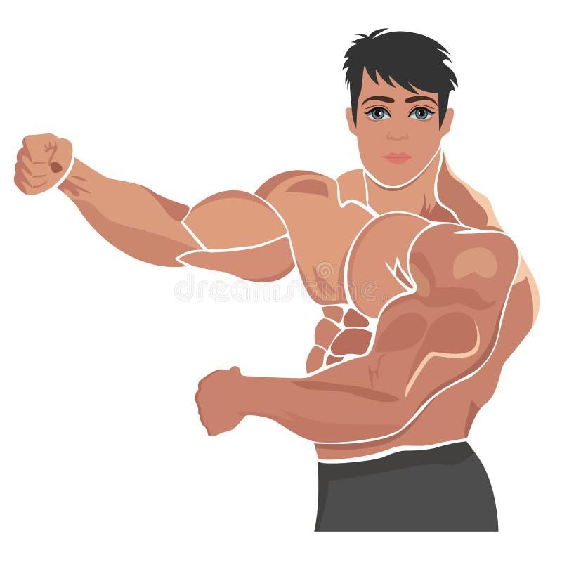 Bodybuilding, anhebende Vektorillustration der Energie stock abbildung