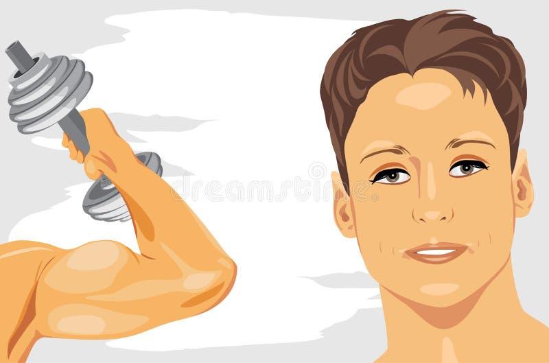 Bodybuilding. Bandiera astratta di sport illustrazione di stock