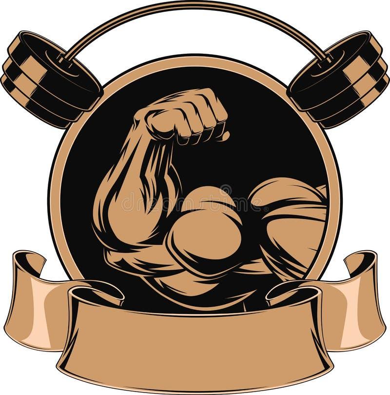 Bodybuilding, biceps de fer illustration libre de droits