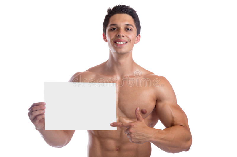 Bodybuilding bodybuilder body builder building muscles empty sign copyspace strong muscular young man royalty free stock photo