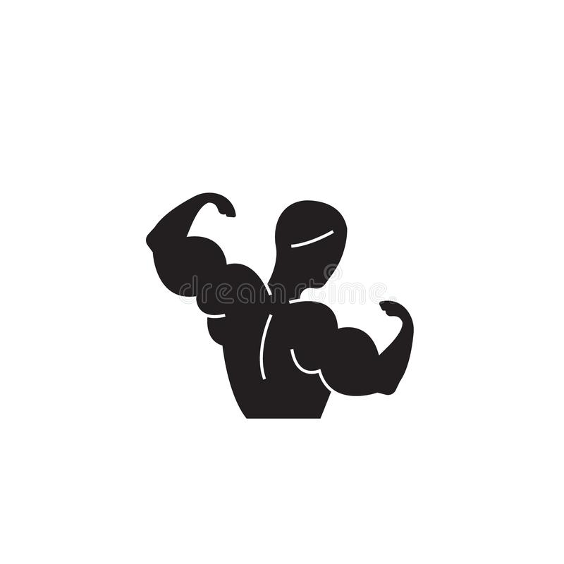 Bodybuilding czarna wektorowa pojęcie ikona Bodybuilding płaska ilustracja, znak ilustracja wektor