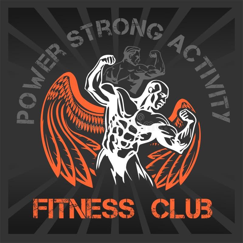 Bodybuilding de GYMNASE - emblème de vecteur illustration stock