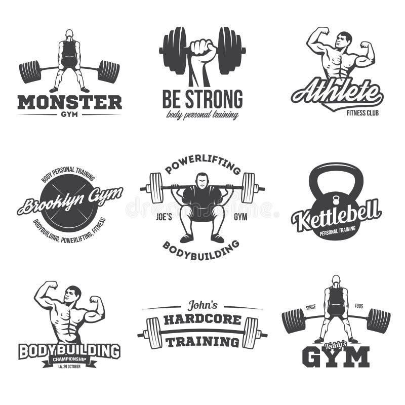 Bodybuilding, die kettlebell, de symbolen van training logotypes tekens powerlifting De elementen van het de emblemenontwerp van  vector illustratie
