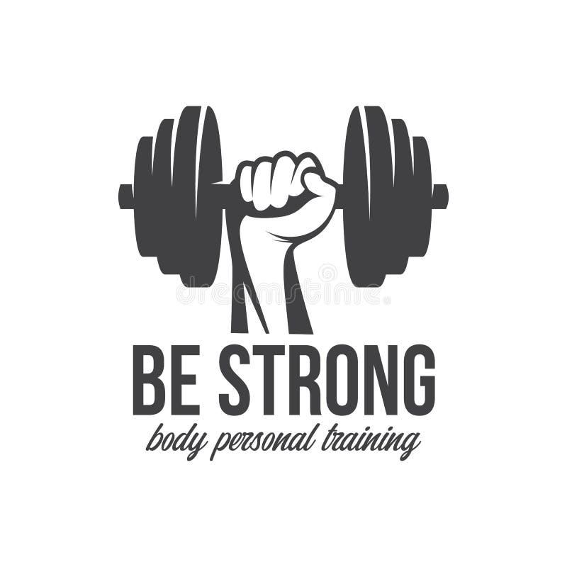 Bodybuilding, die kettlebell, het symbool van het training logotype teken powerlifting De elementen van het het embleemontwerp va vector illustratie