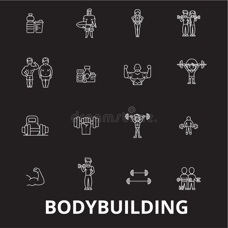Bodybuilding editable kreskowy ikony wektorowy ustawiający na czarnym tle Bodybuilding białe kontur ilustracje, znaki ilustracji