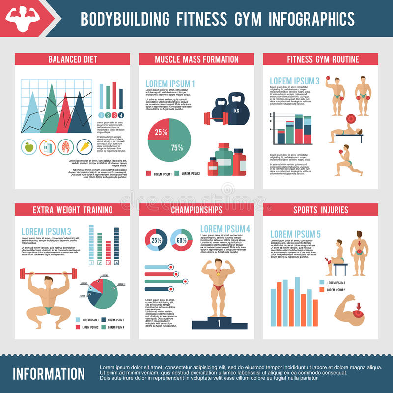 Bodybuilding-Eignungs-Turnhalle Infographics stock abbildung