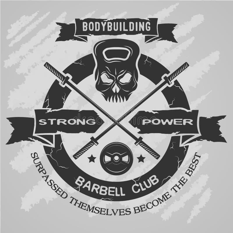 Bodybuilding emblemat w rocznika stylu royalty ilustracja