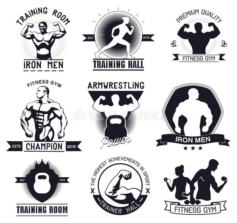 Bodybuilding en geschiktheidsgymnastiekemblemen en emblemen stock illustratie