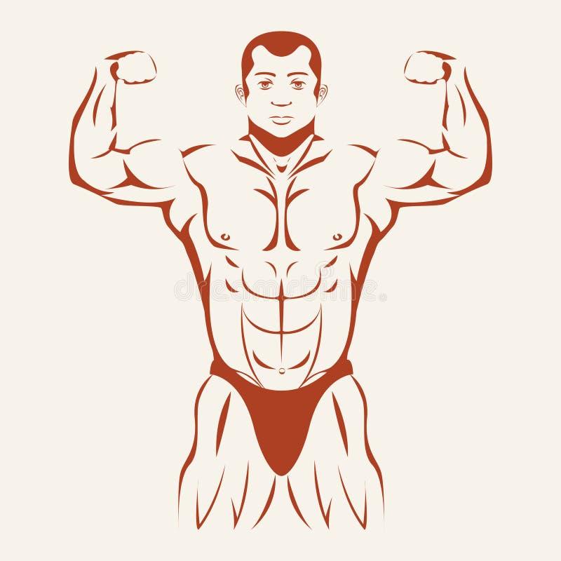 Bodybuilding en het powerlifting Bodybuilder het tonen royalty-vrije illustratie
