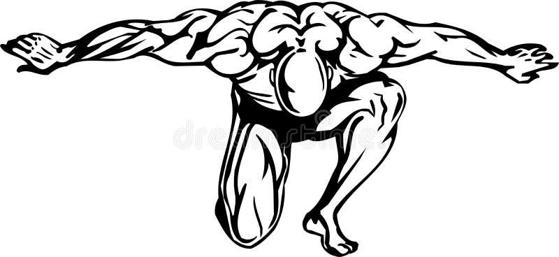 Bodybuilding en Powerlifting - vector. stock illustratie