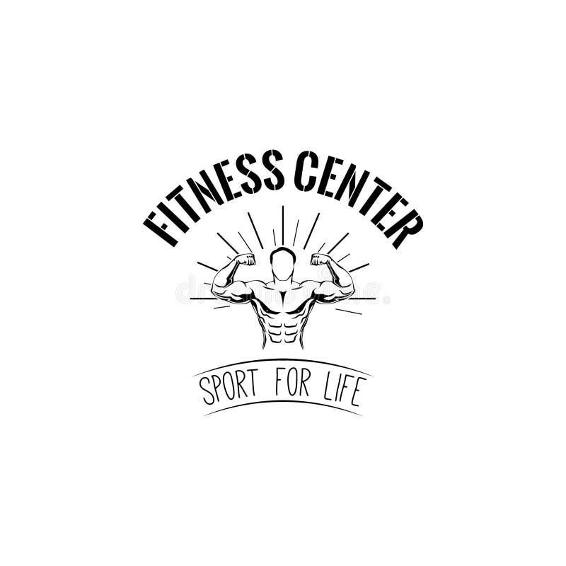 bodybuilding Etiqueta del logotipo del centro de aptitud Hombre con los músculos INSIGNIA DEL DEPORTE Vector ilustración del vector