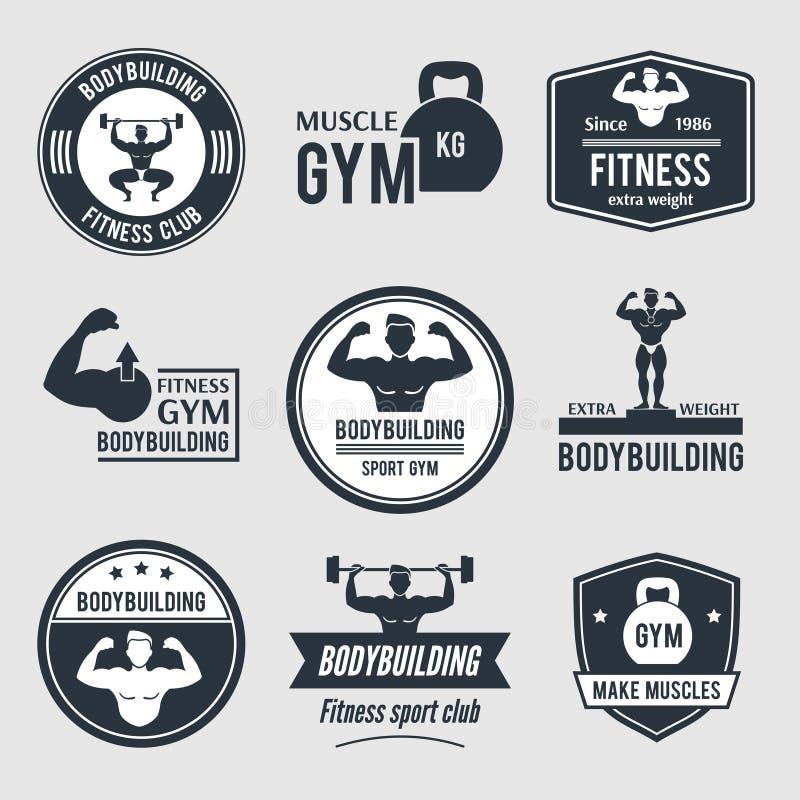 Bodybuilding etykietka set ilustracja wektor