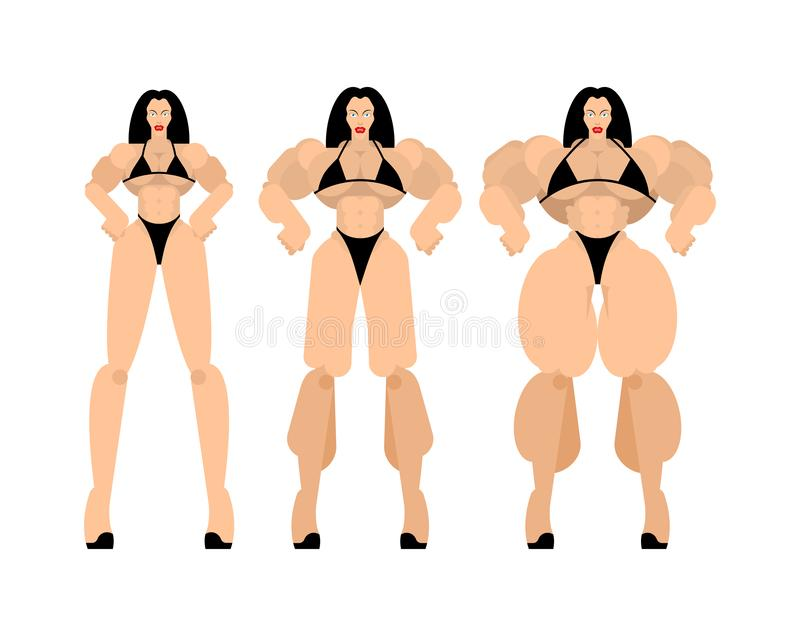 Bodybuilding Fitness bikini Female posing set. Beautiful sporty body Woman. Athletic Muscular Model royalty free illustration