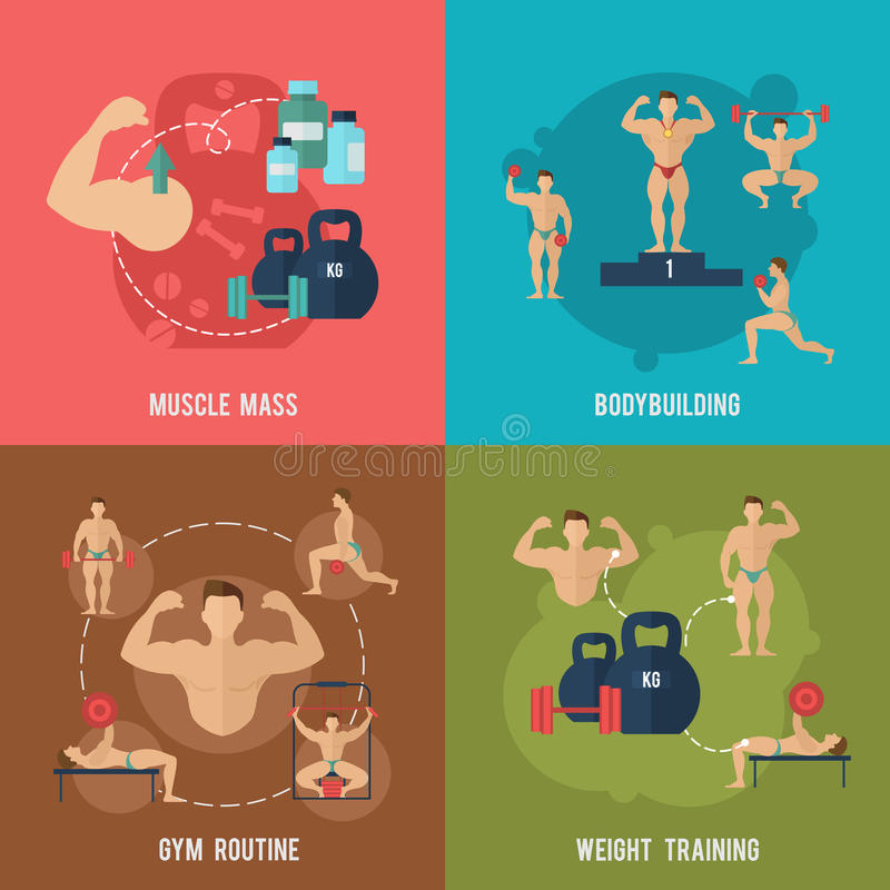 Bodybuilding Flat Set. Bodybuilding flat icons set with muscle mass gym routine weight training isolated vector illustration stock illustration