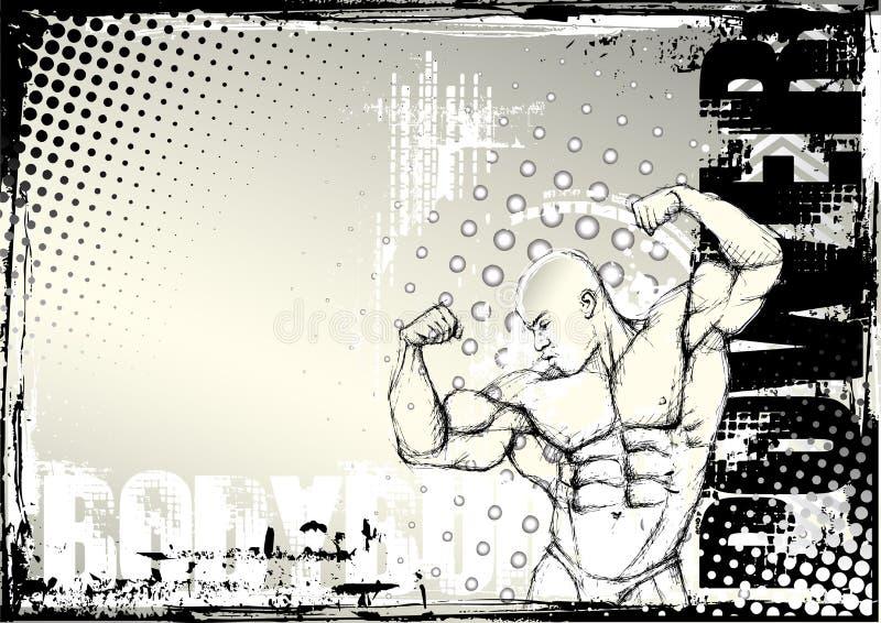 Bodybuilding grunge achtergrond 2 van het potlood stock illustratie