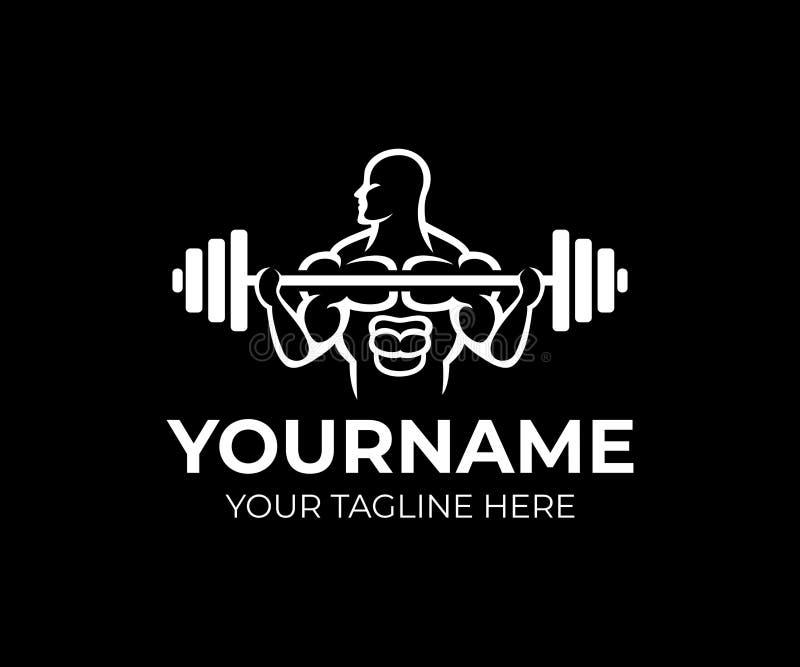 Bodybuilding, gym i sprawności fizycznej centre, mężczyzna bodybuilder podwyżek barbell rząd, loga szablon Weightlifting, ciężaru royalty ilustracja