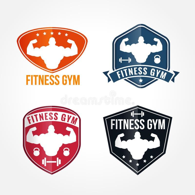 Bodybuilding i Eleganckiego sprawności fizycznej gym logów Wektorowe grafika ilustracji