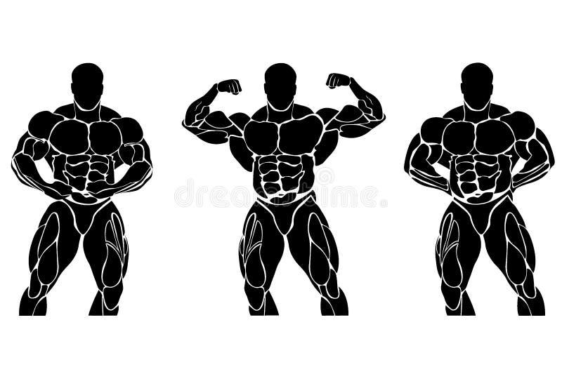 Bodybuilding i powerlifting pojęcie, ikona, set royalty ilustracja