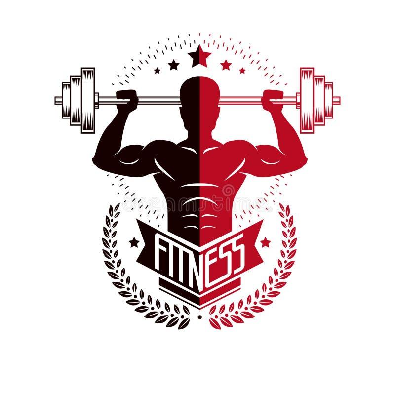 Bodybuilding i sprawno?? fizyczna bawimy si? logo szablony, stylowy wektorowy emblemat Z bodybuilder sylwetk? ilustracji