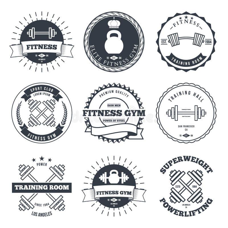 Bodybuilding i sprawności fizycznej gym logowie Etykietki i emblemata projekta elementy wektorowi royalty ilustracja