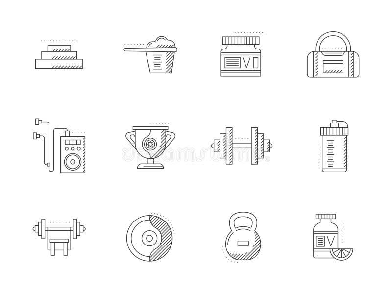 Bodybuilding i sprawności fizycznej mieszkania linii ikony ilustracja wektor