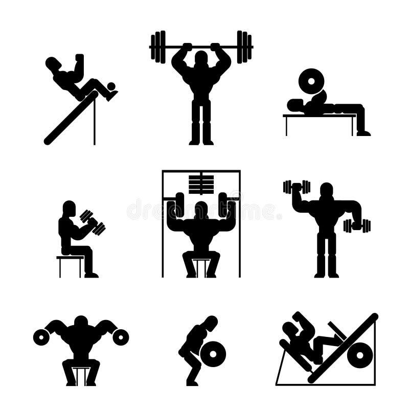 Bodybuilding i Weightlifting ikony ilustracja wektor
