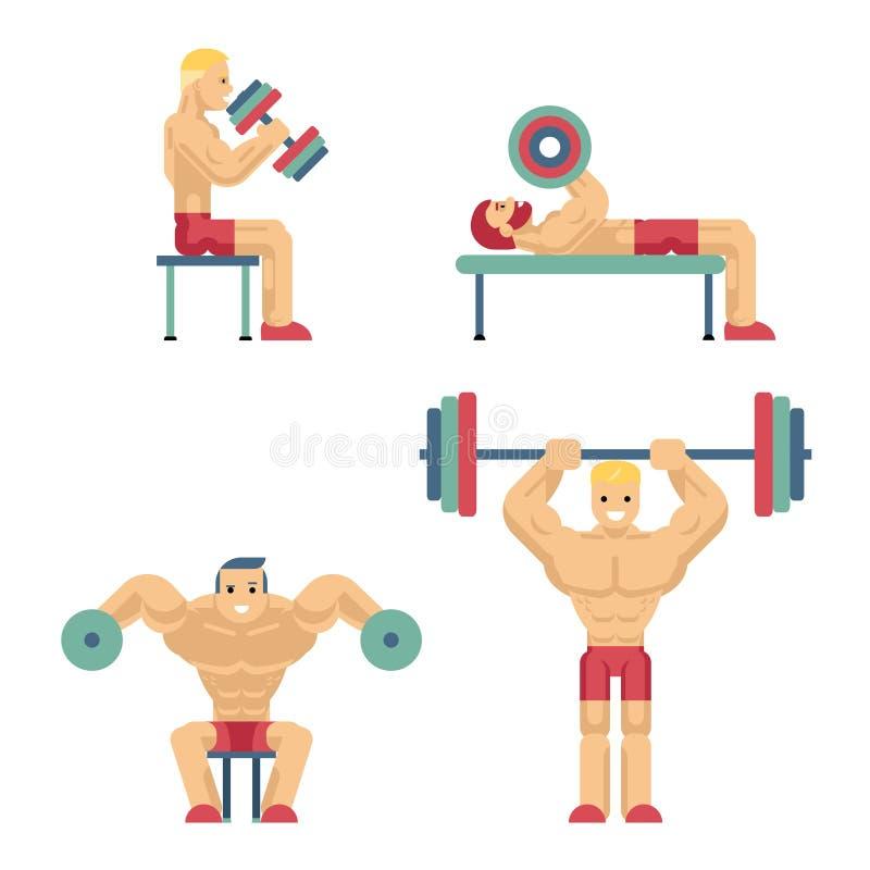 Bodybuilding i Weightlifting ikony w mieszkanie stylu ilustracji