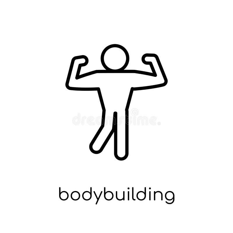 Bodybuilding ikona Modny nowożytny płaski liniowy wektorowy bodybuilding ilustracja wektor