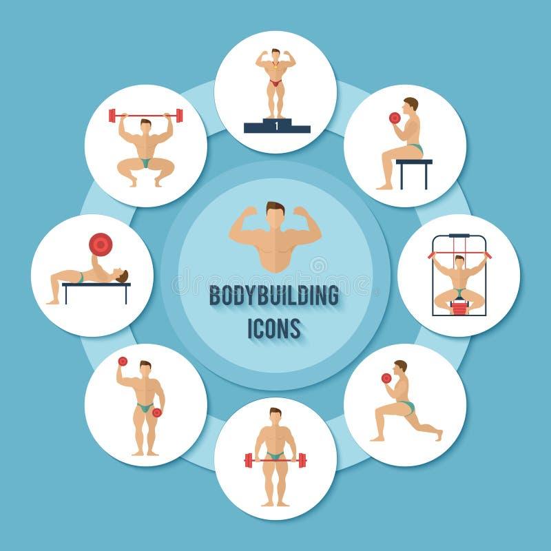 Bodybuilding-Ikonen eingestellt vektor abbildung