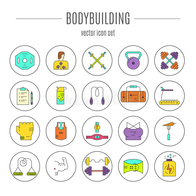 Bodybuilding-Ikonen-Sammlung stock abbildung