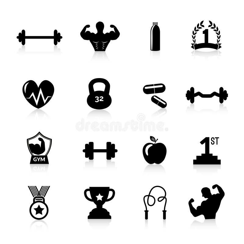 Bodybuilding-Ikonen-Schwarzes vektor abbildung