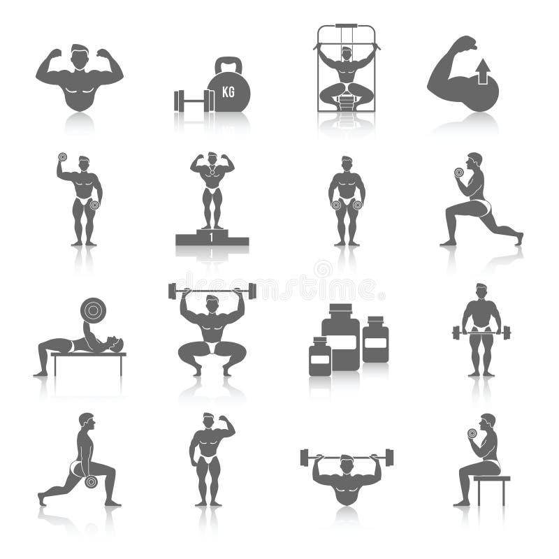 Bodybuilding ikony Ustawiać ilustracja wektor