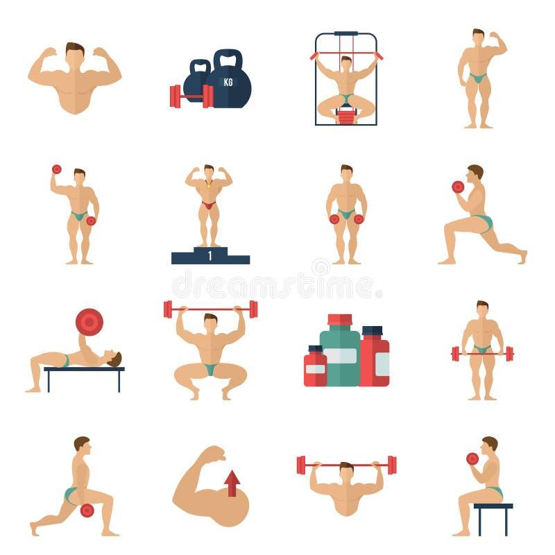 Bodybuilding ikony Ustawiać royalty ilustracja