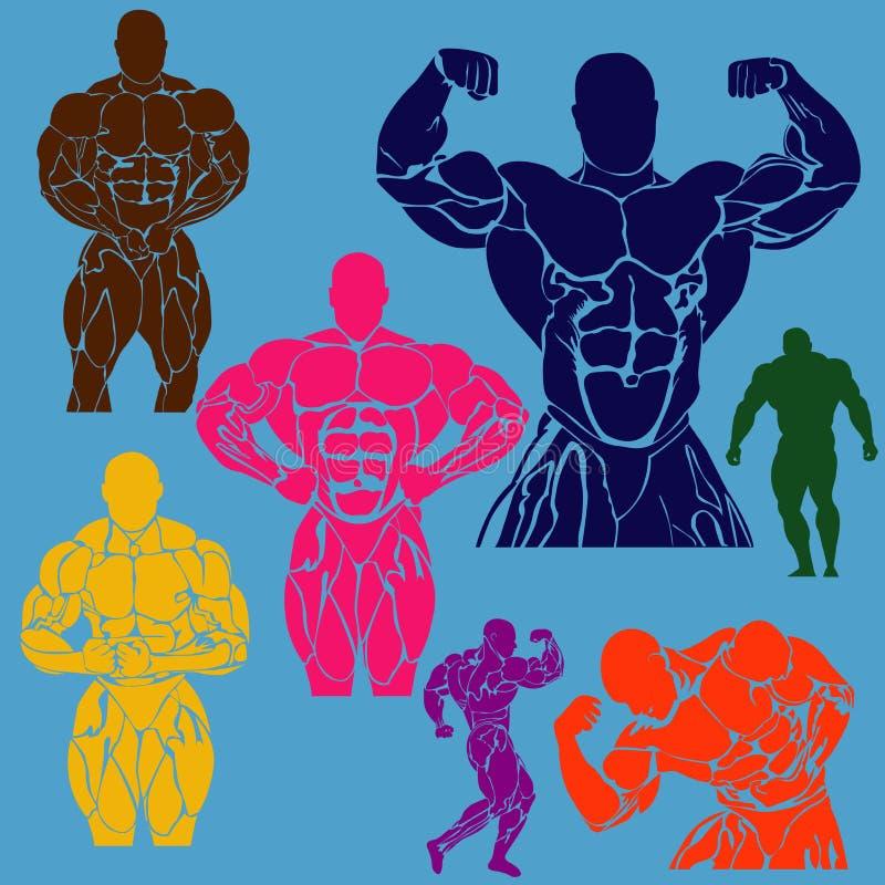 Bodybuilding ikony ustawiać, wektorowa ilustracja royalty ilustracja
