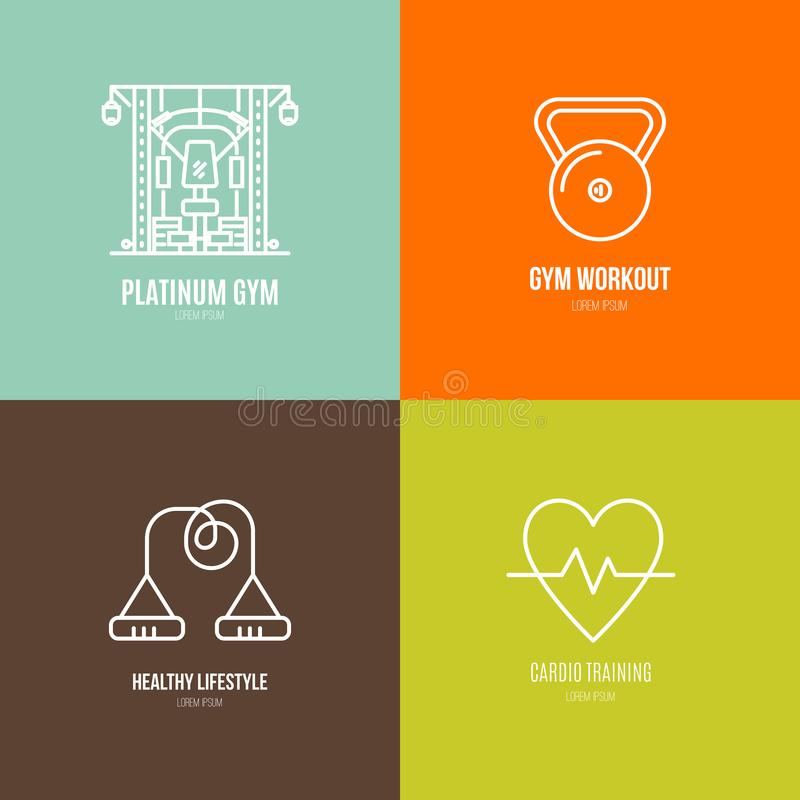 Bodybuilding Logo Set vektor abbildung