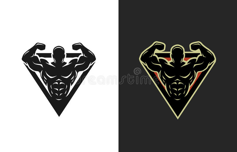Bodybuilding logo, två alternativ royaltyfri illustrationer
