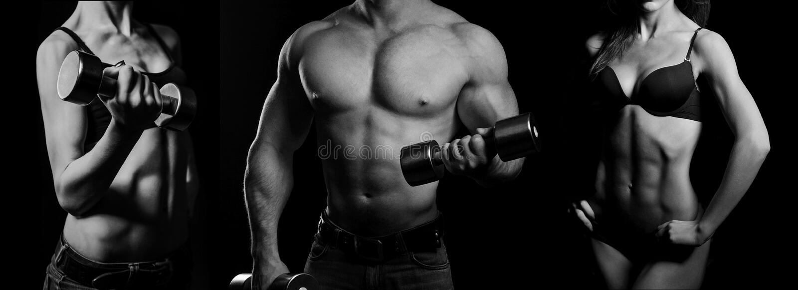 Bodybuilding. Man and woman. Bodybuilding. Strong men and a women posing on a black background stock image