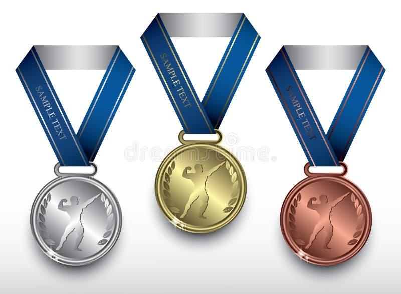 Bodybuilding medale royalty ilustracja