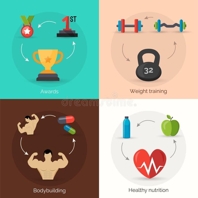 Bodybuilding mieszkania set royalty ilustracja