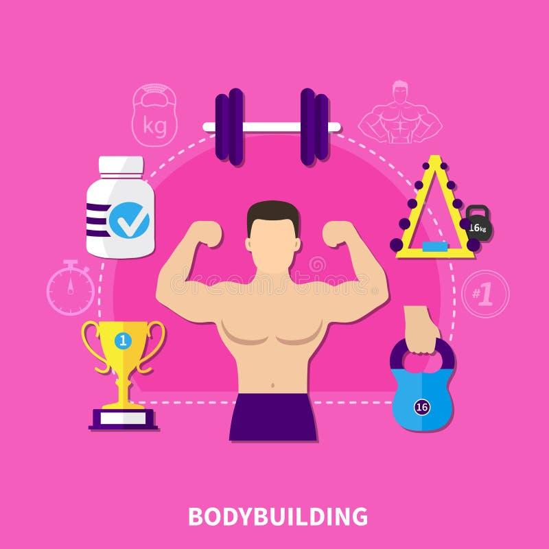 Bodybuilding mieszkania skład ilustracja wektor
