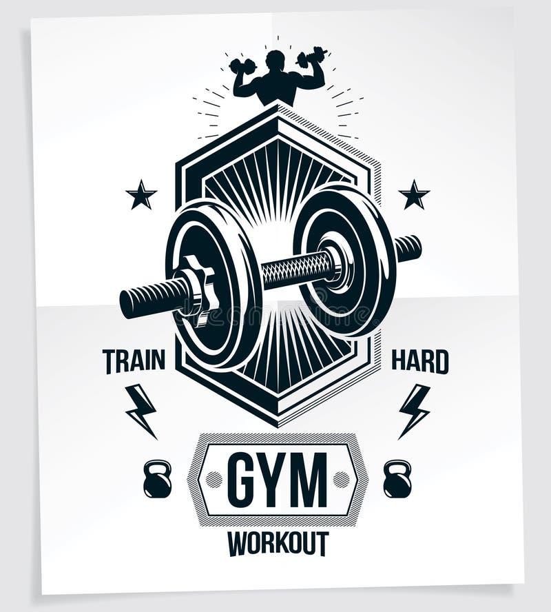Bodybuilding motywacji wektorowy plakat tworzący z dyska ciężaru dumbbell, Bell sporta wyposażeniem i sportowa ciała sylwetką, ilustracja wektor