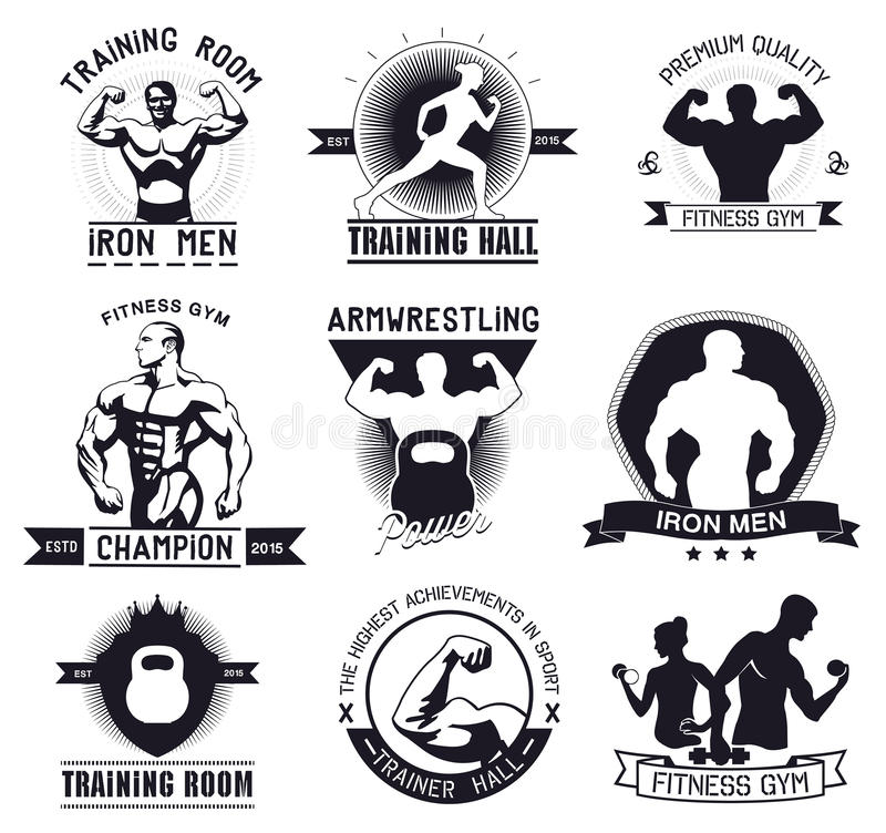 Bodybuilding- och konditionidrottshalllogoer och emblem stock illustrationer