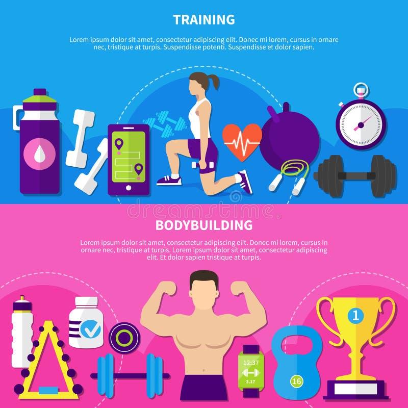 Bodybuilding Opleidingsbanners vector illustratie
